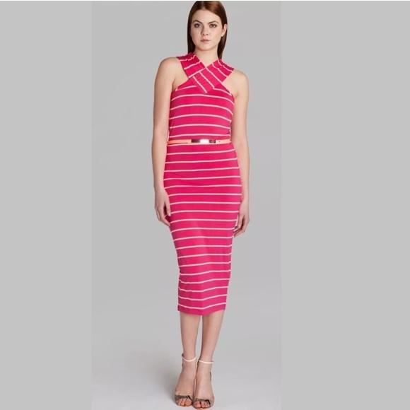 NWT TED BAKER Criss Cross Midi Striped Dress 2   4 3f61386d4
